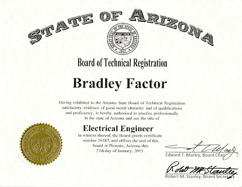 professional certificate registration pe granted