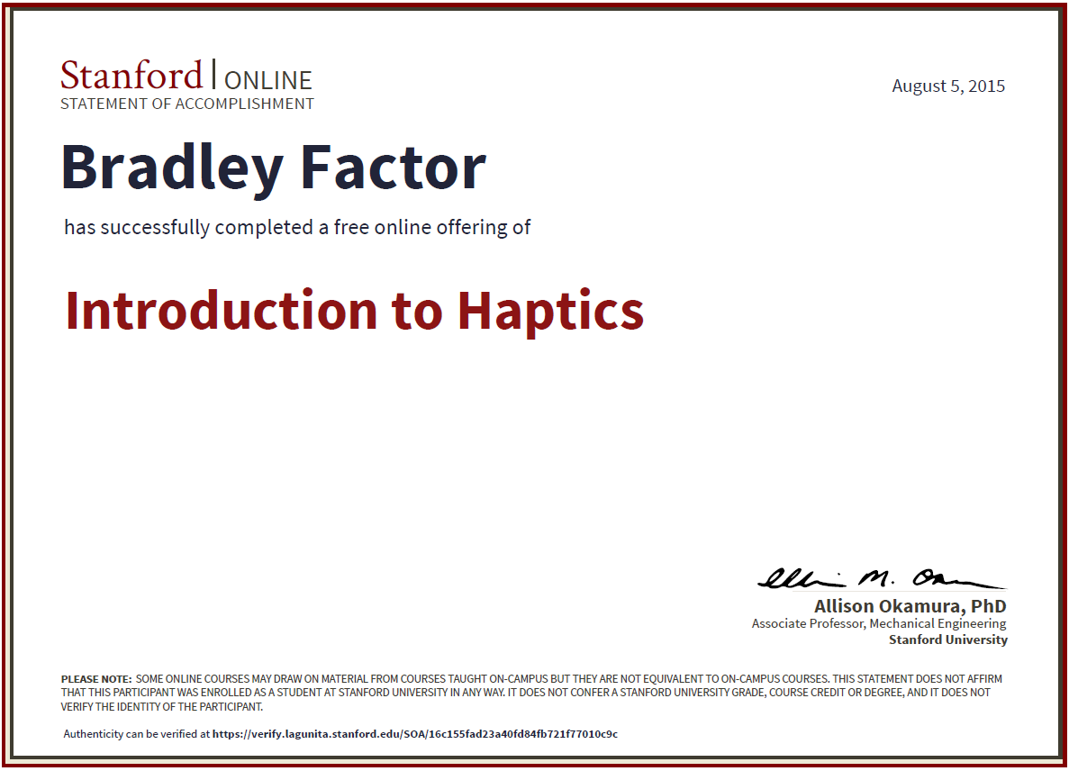 Continuing education about the brad factor intro to haptics certificate xflitez Gallery